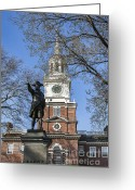 Independence Park Greeting Cards - Independence Hall Spring Greeting Card by John Greim