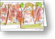 City Scene Drawings Greeting Cards - Independence Park Philadelphia Greeting Card by Marilyn MacGregor
