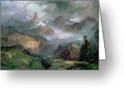 Thomas Moran Greeting Cards - Index Peak Greeting Card by Thomas Moran