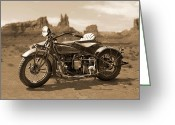Sepia Greeting Cards - Indian 4 Sidecar Greeting Card by Mike McGlothlen