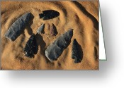 Antiquities And Artifacts Greeting Cards - Indian Arrowheads In The Sand Greeting Card by Ira Block