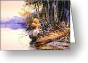  Tribal Prints Greeting Cards - Indian Camp Lake McDonald Greeting Card by Pg Reproductions