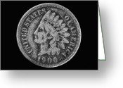 Cent Greeting Cards - Indian Cent Coin Black and White Greeting Card by Randy Steele