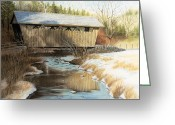 West Pastels Greeting Cards - Indian Creek Covered Bridge Greeting Card by James Clewell