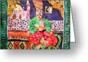 India Tapestries - Textiles Greeting Cards - Indian Dream Greeting Card by Sandra Kern