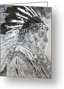 Native Portraits Reliefs Greeting Cards - Indian Etching Print Greeting Card by Lisa Stanley