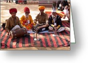 India Greeting Cards - Indian Folk singers and musicians at the Surajkand Mela Greeting Card by Ashish Agarwal
