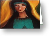 Autumn In The Country Painting Greeting Cards - Indian Girlfriend Greeting Card by Vickie Meza