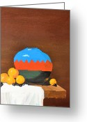 Linen Greeting Cards - Indian Jar with Oranges Greeting Card by Tom Amiss