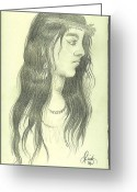 Maiden Drawings Greeting Cards - Indian Maiden Greeting Card by Cynthia Adams