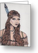 Maiden Drawings Greeting Cards - Indian maiden in color Greeting Card by Daniel Lamb