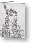 Maiden Drawings Greeting Cards - Indian Maiden pencils Greeting Card by Daniel Lamb