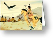 Pinups Greeting Cards - Indian On Horse Greeting Card by Lynn Rider