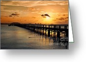 Melbourne Beach Greeting Cards - Indian River Pier Sunset Greeting Card by Cheryl Davis