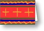 Native American Rug Greeting Cards - Indian Rug Design Greeting Card by John Sparacio