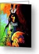 Native American Greeting Cards - Indian Shadows Greeting Card by Lance Headlee