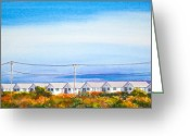 Trees Light Windows Greeting Cards - Indian Summer Days Cottages North Truro Massachusetts Watercolor Painting Greeting Card by Michelle Wiarda