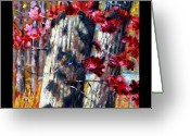 Red Leaves Painting Greeting Cards - Indian Summer detail nine Greeting Card by John Lautermilch