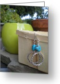 Metal Jewelry Greeting Cards - Indian Summer Earrings Greeting Card by Beth Sebring