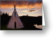 Sunset Posters Greeting Cards - Indian Teepee Sunset  Greeting Card by James Bo Insogna