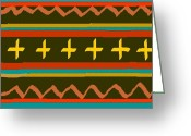 Native American Rug Greeting Cards - Indian Textile Design Greeting Card by John Sparacio