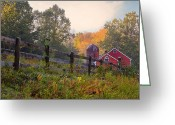 Autumn Scenes Greeting Cards - Indian Valley Farm Greeting Card by Bill  Wakeley