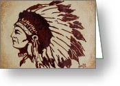 Ornaments Painting Greeting Cards - Indian Wise Chief coffee painting Greeting Card by Georgeta  Blanaru