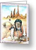Aquarel Greeting Cards - Indian Woman in Monument Valley Greeting Card by Peter Art Prints Posters Gallery
