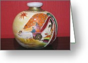 India Ceramics Greeting Cards - Indian Greeting Card by Xafira Mendonsa
