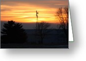 Windmill Mixed Media Greeting Cards - Indiana Sunset Greeting Card by Bruce McEntyre