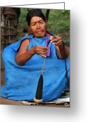 Santa Cruz Valley Greeting Cards - Indigenous Guarani spinning. Department of Santa Cruz. Republic of Bolivia. Greeting Card by Eric Bauer