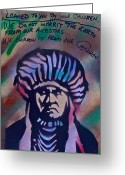 Conservative Greeting Cards - Indigenous Motto Earth Tones Greeting Card by Tony B Conscious