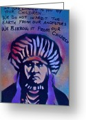 99 Percent Greeting Cards - INDIGENOUS MOTTO...Blue Greeting Card by Tony B Conscious