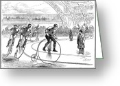 Penny Farthing Greeting Cards - Indoor Bicycle Race, 1880 Greeting Card by Granger