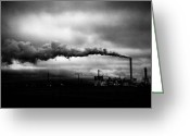 Factories Greeting Cards - Industrial Eruption Greeting Card by Ilker Goksen