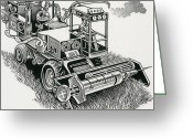 Typewriter Greeting Cards - Industrial Farming Greeting Card by Bill Sanderson