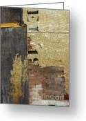 Primitive Mixed Media Greeting Cards - Industrial Patina Abstract Greeting Card by Anahi DeCanio