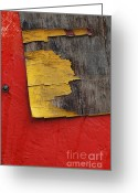 Old Wall Digital Art Greeting Cards - Industrial Red Wall Abstract Greeting Card by AdSpice Studios