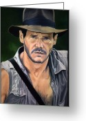 Movies Greeting Cards - Indy Greeting Card by Maria Arango