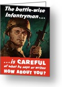 Warishellstore Greeting Cards - Infantryman Is Careful Of What He Says Greeting Card by War Is Hell Store