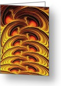 Orange Grey Greeting Cards - Inferno Greeting Card by Anastasiya Malakhova