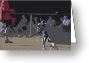 Athletic Digital Art Greeting Cards - Infield Greeting Card by Peter  McIntosh