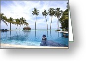 Infinity Greeting Cards - Infinity pool Meeru Greeting Card by Jane Rix
