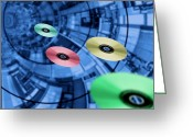Compact Disks Greeting Cards - Information Superhighway, Computer Artwork Greeting Card by Victor Habbick Visions