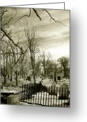 Cemetery Gate Greeting Cards - Infrared Cemetery Greeting Card by Gothicolors With Crows