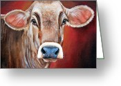 Charolais Greeting Cards - Ingrid Greeting Card by Laura Carey