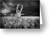 Black And White Nude Photo Greeting Cards - Inhaling Thunder Greeting Card by Chance Manart