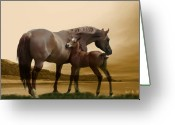 Stallion Greeting Cards - Inherit the Wind Greeting Card by Corey Ford