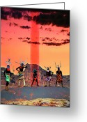 Mythology Surrealism Greeting Cards - Initiation Greeting Card by Mark Myers
