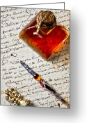 Seal Greeting Cards - Ink bottle and pen  Greeting Card by Garry Gay